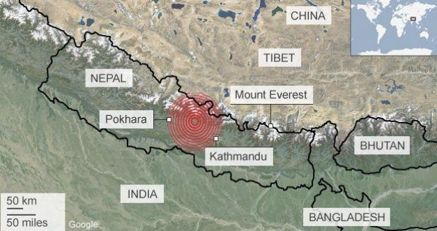 Harta cutremur devastator Nepal