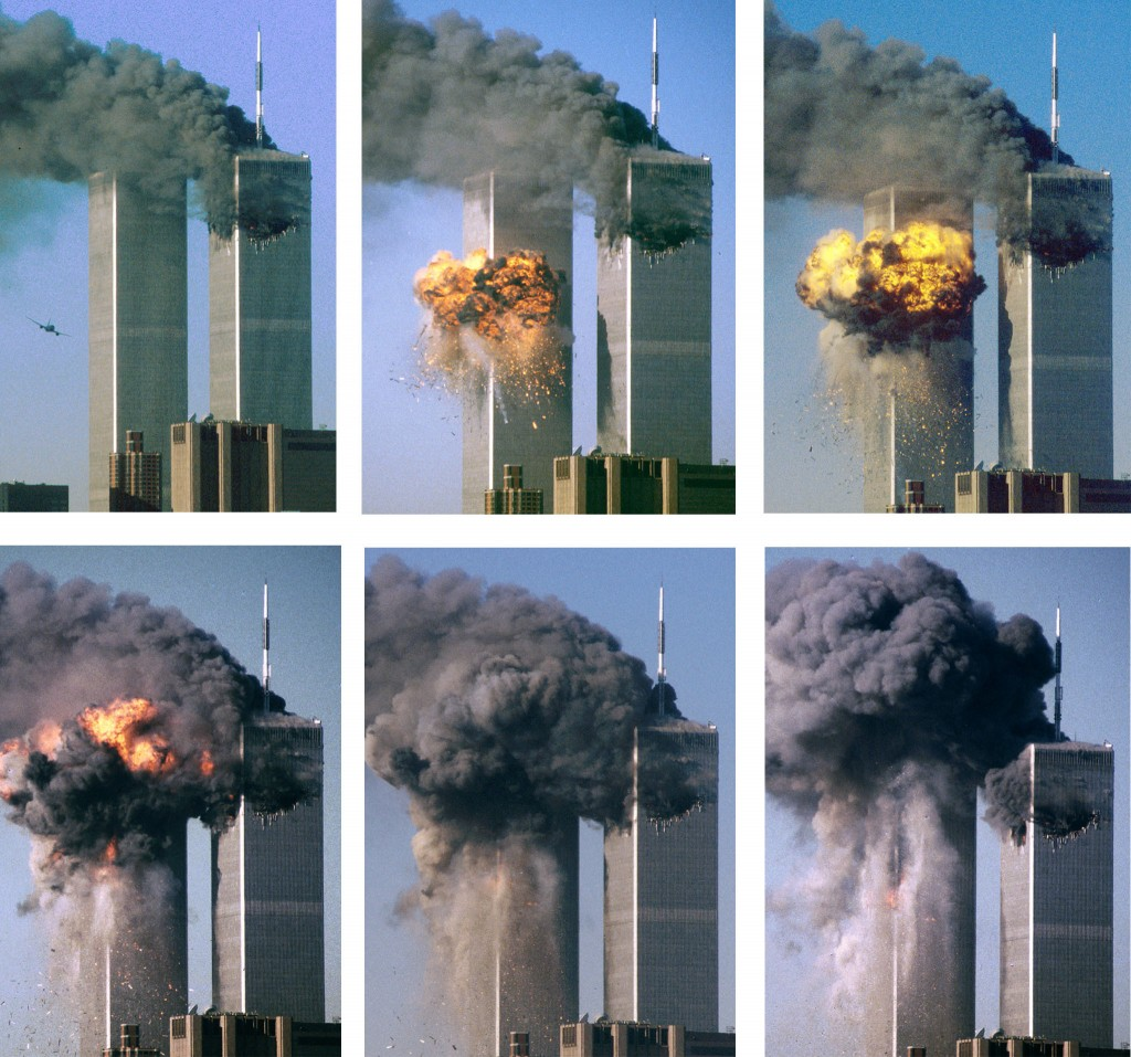 SERIES OF PHOTOS OF HIJACKED AIRLINER ATTACKING WORLD TRADE CENTER