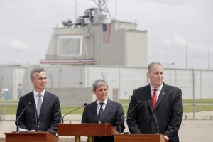 NATO Secretary General Stoltenberg, Romanian Prime Minister Ciolos and U.S. Deputy Secretary of Defense Work take part in an official inauguration ceremony at Deveselu air base