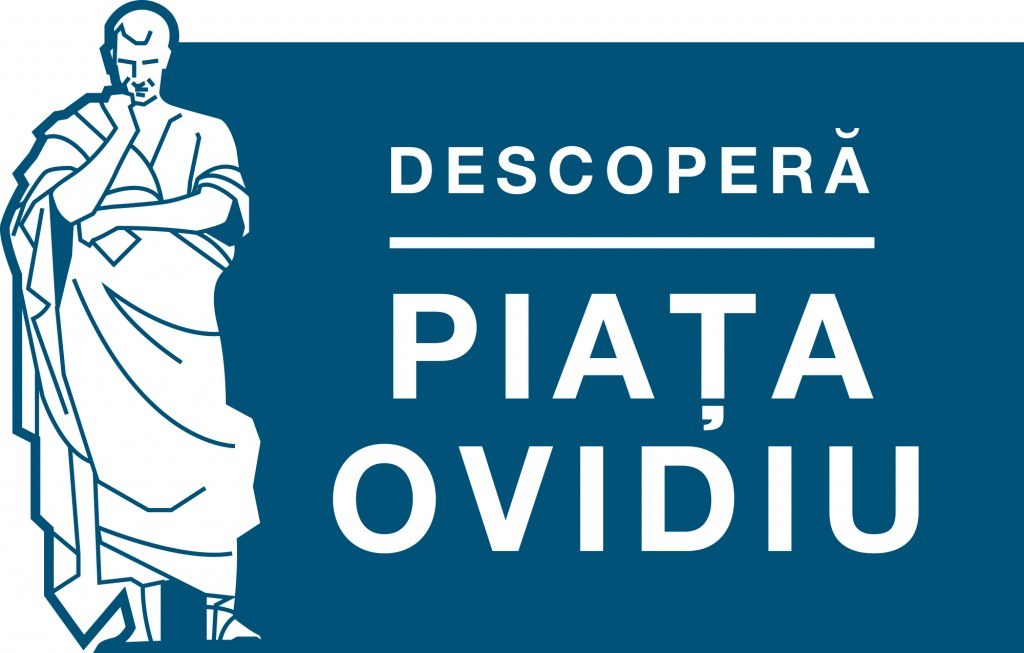 Descopera Piata Ovidiu - logo albastru fundal