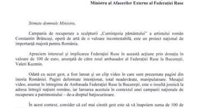 Scrisoare deschisă adresată lui Serghei Lavrov de către Eugen Tomac