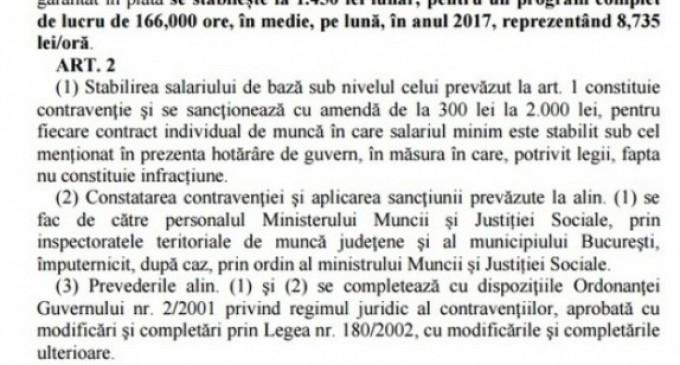 Guvernul va majora salariul de bază minim brut începând cu 1 februarie