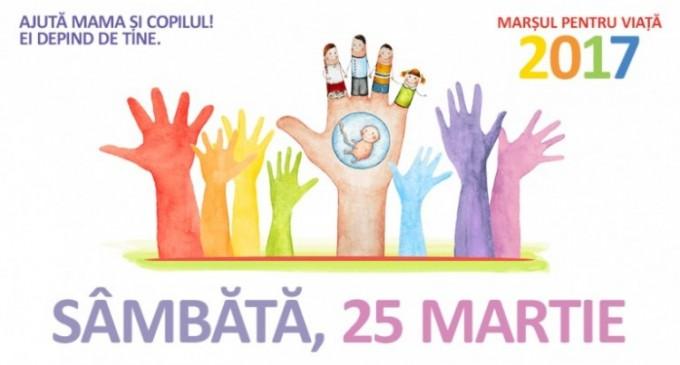 """Marșul pentru viață 2017  intitulat """"Ajută mama și copilul! Ei depind de tine"""" va avea loc pe data de 25 Martie"""