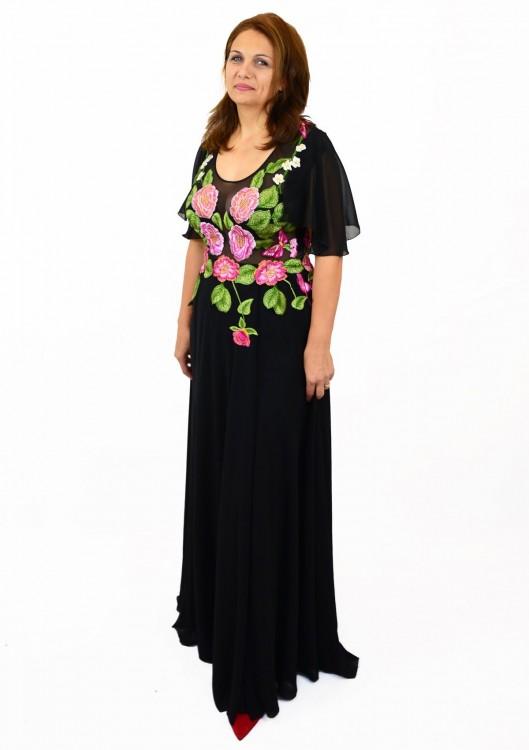 rochie-cusuta-manual-neagra imprimeu