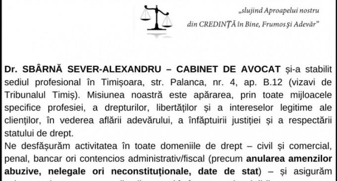 ANUNT – Dr. SBÂRNĂ SEVER-ALEXANDRU – CABINET DE AVOCAT