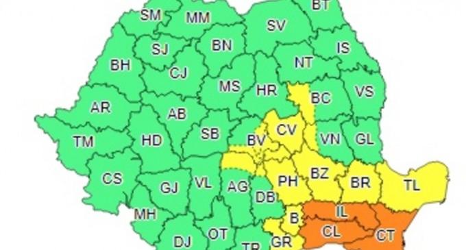 Cod portocaliu de ploi în Constanța, Ialomița și Călărași. Cod galben în București și 11 județe – Esential
