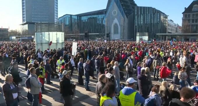 """Germania: Poliția ordonă dizolvarea unei manifestații """"anti-măști"""" în Leipzig VIDEO – International"""