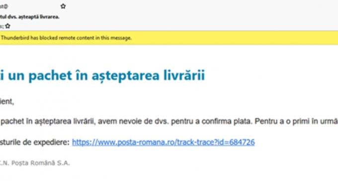 Noi e-mail-uri înșelătoare țintesc victime din România cu mesaje care pretind că sunt trimise de către Poșta Română și Banca Transilvania, avertizează Bitdefender – IT